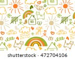 seamless pattern with doodle... | Shutterstock .eps vector #472704106