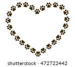 Heart Shaped Paw Print Frame  ...