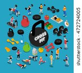gym and fitness isometric... | Shutterstock .eps vector #472724005