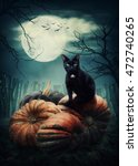 Stock photo black cat on a pumpkin 472740265