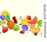 fresh fruits. vector seamless... | Shutterstock .eps vector #472778752