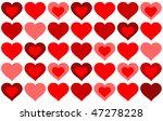 red hearts background on white | Shutterstock . vector #47278228