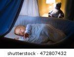 adorable baby sleeping in blue... | Shutterstock . vector #472807432