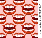 cheerful smile lip seamless... | Shutterstock .eps vector #472817146