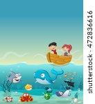 kids inside a boat at the ocean ... | Shutterstock .eps vector #472836616