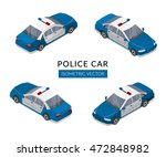 set with flat isolated police... | Shutterstock .eps vector #472848982