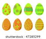 set of eight easter eggs   Shutterstock .eps vector #47285299