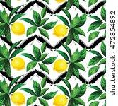 lemon vector pattern with zig... | Shutterstock .eps vector #472854892