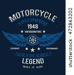 motorcycle t shirt graphic  | Shutterstock .eps vector #472863202