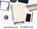 blank smartphone  glasses ... | Shutterstock . vector #472867132
