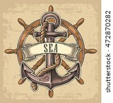 anchor and wheel with ribbon... | Shutterstock .eps vector #472870282