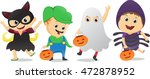 happy children in halloween... | Shutterstock .eps vector #472878952