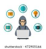 hacker laptop envelope bulb... | Shutterstock .eps vector #472905166