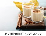 banana smoothie with peanut... | Shutterstock . vector #472916476