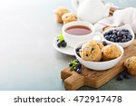 blueberry muffins in a bowl... | Shutterstock . vector #472917478