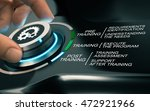 hand turning a knob with gears... | Shutterstock . vector #472921966