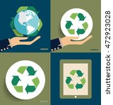 hand holding recycle symbol.... | Shutterstock .eps vector #472923028