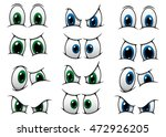 set of cartoon eyes with blue... | Shutterstock . vector #472926205