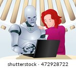 illustration of a droid robot...   Shutterstock .eps vector #472928722