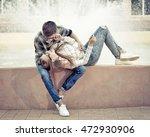 Sweethearts Teenagers Hug....