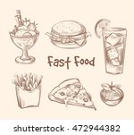 fast food vector set in hand... | Shutterstock .eps vector #472944382
