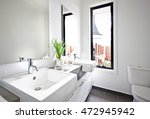 white washroom sink and mirror... | Shutterstock . vector #472945942