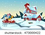 Santa Claus Sleigh Near House...