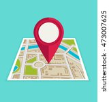 flat map with pin. vector map... | Shutterstock .eps vector #473007625