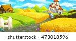 cartoon happy farm scene with...   Shutterstock . vector #473018596