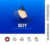 boy color icon  vector symbol...