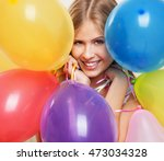 young happy woman with... | Shutterstock . vector #473034328