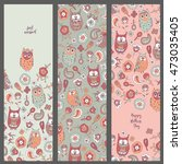 set template cards with owls.... | Shutterstock .eps vector #473035405
