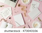 flat lay  top view office table ... | Shutterstock . vector #473043106