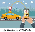 taxi service. yellow taxi cab.... | Shutterstock . vector #473045896