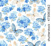 Stock vector seamless pattern with flowers phlox butterflies blue and yellow colors rustic vector illustration 473081062