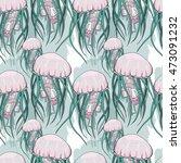 jellyfish seamless pattern blue ... | Shutterstock .eps vector #473091232