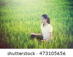 young woman posing doing aerial ... | Shutterstock . vector #473105656