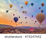 hot air balloons flying over... | Shutterstock . vector #473147452