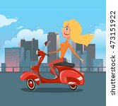 girl riding scooter. cartoon... | Shutterstock .eps vector #473151922