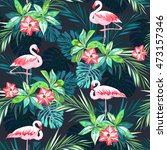 tropical summer seamless... | Shutterstock . vector #473157346