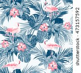 indigo tropical summer seamless ... | Shutterstock . vector #473157592