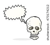 cartoon skull with speech bubble | Shutterstock . vector #473174212