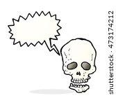cartoon skull with speech bubble | Shutterstock . vector #473174212
