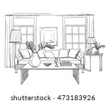 Hand drawn room interior sketch. Chair, table flowerpot | Shutterstock vector #473183926
