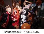 spooky costumes at halloween... | Shutterstock . vector #473184682