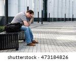 sad headache middle age man... | Shutterstock . vector #473184826