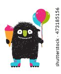 kids fun monster with ice cream ... | Shutterstock .eps vector #473185156