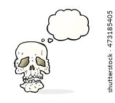cartoon skull with thought... | Shutterstock . vector #473185405