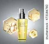 gold oil serum skincare... | Shutterstock .eps vector #473186782