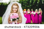 bride with bridesmaids in a... | Shutterstock . vector #473209006